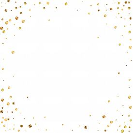 Sparse Gold Confetti Luxury Sparkling Confetti. Scattered Small Gold Particles On White Background.
