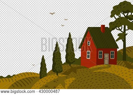 Red Farm House. Rural Landscape With Barn House In Rustic Style On Green Field With Cypresses