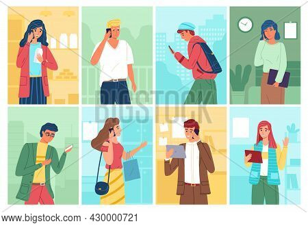 People Talking Phones. Women And Men Call With Smartphones And Type Messages With Gadgets, Chatting