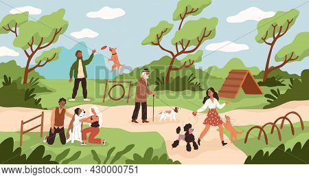 Dog Park. People Walk And Play With Dogs At Training Ground, Men And Women Outdoor Games With Domest