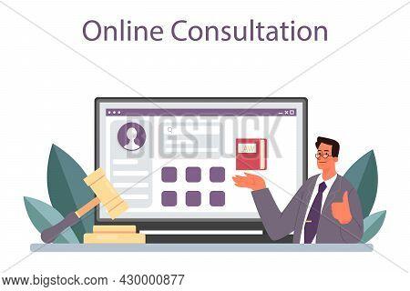 Lawyer Online Service Or Platform. Law Advisor, Advocate Defending