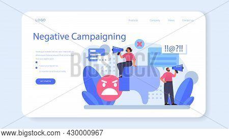 Negative Campaigning Web Banner Or Landing Page. Brand Negative Reputation
