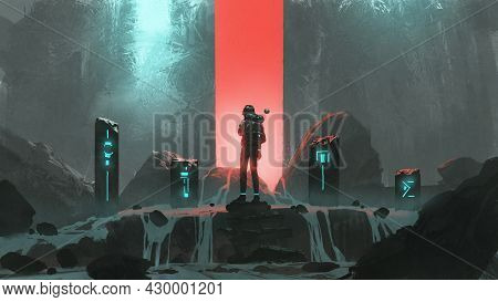 Man Standing At The Sacred Stones And Looking At The Red Light In Front Of Him, Digital Art Style, I