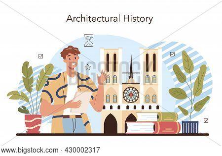 History Of Art School Education. Student Studying Art History. Teacher Tell