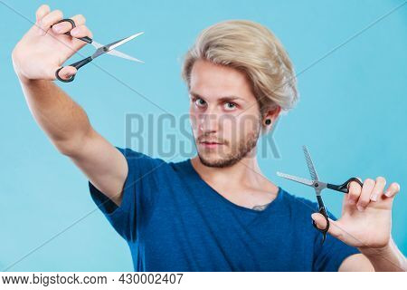 Haircut Coiffure Haircare Concept. Passionate Male Hairdresser Holding Scissors Showing Work Tools N