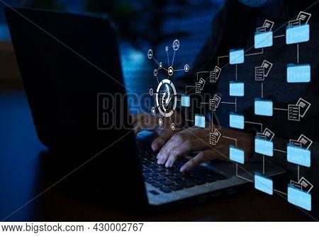 Entrepreneurs Are Managing Data On Their Laptops.document Management Concept, Online Documentation D