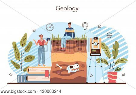 Geography Class Concept. Geology. Studying The Lands, Features, Inhabitants