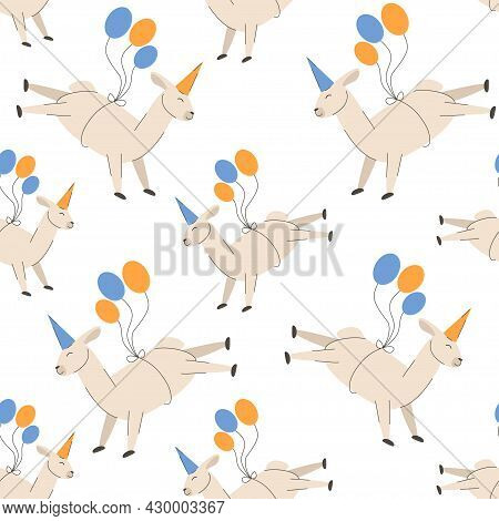 Birthday Party Llama In A Cap Flies On Ballons Seamless Pattern With Funny Lamas Alpacas For Cover,