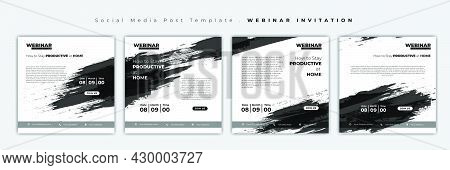 Set Of Social Media Post Template. Social Media Template With Grunge On Black And White Design. Webi