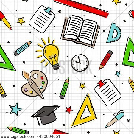 Seamless Cartoon Pattern With School Elements On A Sheet In A Box. Kids Pattern With Education Objec