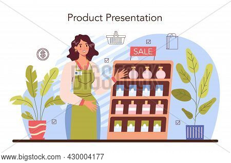 Product Presentation Concept. Entrepreneur Presenting New Product