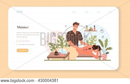 Masseur Web Banner Or Landing Page. Spa Procedure In Beauty Salon
