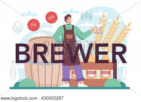 Brewer Typographic Header. Craft Beer Production, Brewing Process