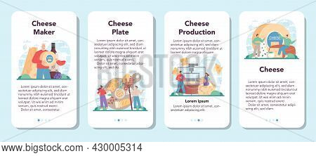 Cheese Maker Mobile Application Banner Set. Professional Chef