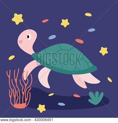 Funny Amusing Sea Turtle Isolated On A Blue Background With Starfish And Corals.  Cheerful Marine Re