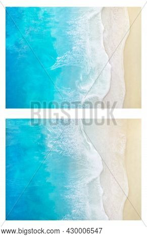 Seascape Painting. Diagonal View On Sea Waves