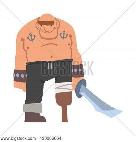 Brutal Man Pirate Or Buccaneer Character With Sabre And Wooden Leg As Marine Robber Vector Illustrat