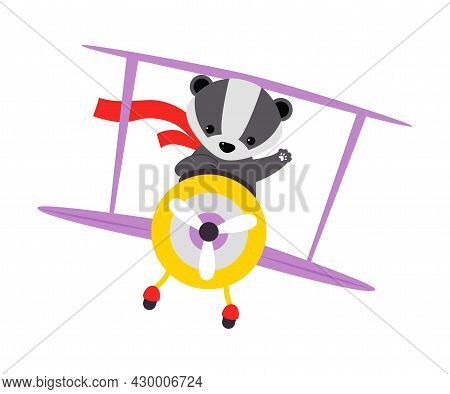 Cute Badger Animal With Fluttering Scarf Flying On Airplane With Propeller And Waving Paw Vector Ill