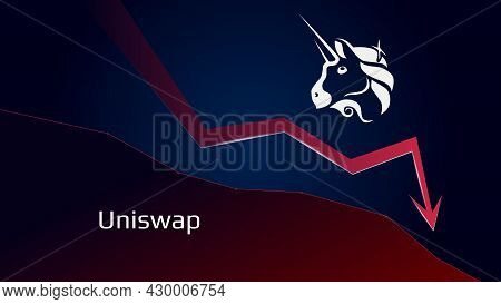 Uniswap Uni In Downtrend And Price Falls Down. Crypto Coin Symbol And Red Down Arrow. Uniswap Crushe