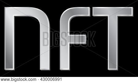 Silver Text Nft Non Fungible Token Design Element Isolated On Black. Pay For Unique Collectibles In