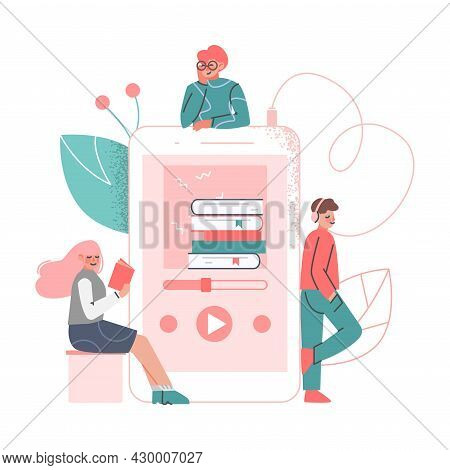 Podcast Or Spoken Episodic Serie Listening With Man And Woman Character Near Huge Playback Device Ve