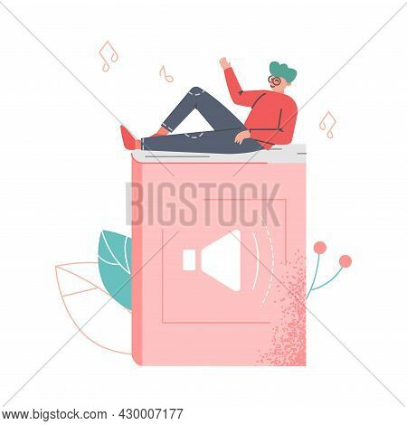 Podcast Or Spoken Episodic Serie Listening With Man Character Lying On Huge Book Vector Illustration