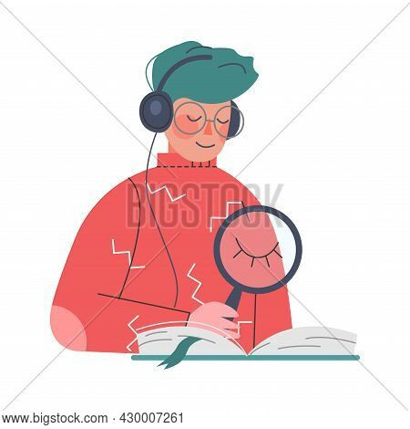 Podcast Or Spoken Episodic Serie Listening With Man Character With Headphones And Magnifying Glass R