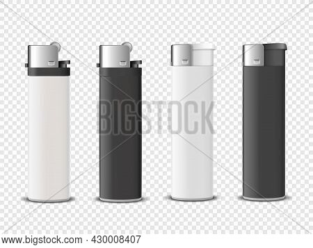 Vector 3d Realistic White And Black Blank Cigarette Lighter Icon Set Closeup Isolated On Transparent