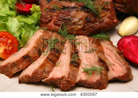 Served Roasted Beef Steak
