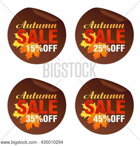 Autumn Sale Brown Stickers Set With Autumn Orange, Yellow Leaves. Autumn Sale 15%, 25%, 35%, 45% Off