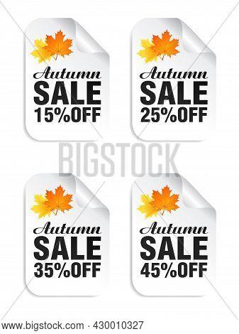 Autumn Sale White Stickers Set With Autumn Leaves. Autumn Sale 15%, 25%, 35%, 45% Off. Vector Illust