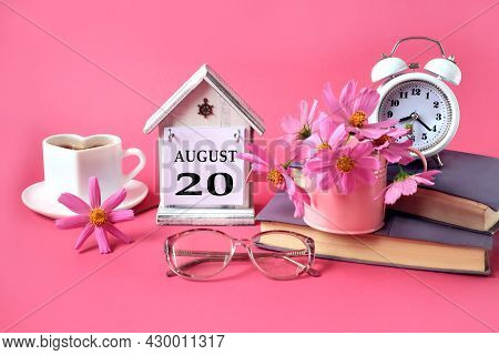 Calendar For August 20 : The Name Of The Month Of August In English, The Number 20, A Cup Of Tea, Bo