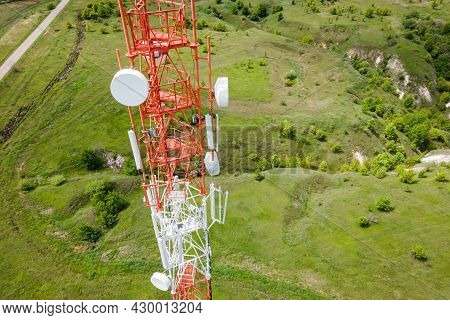 Telecom Tower With 5g Base Station Antenna. Aerial View Of Telephone Mast