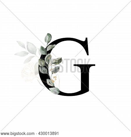 Capital Letter G Decorated With Golden Flower And Leaves. Letter Of The English Alphabet With Floral