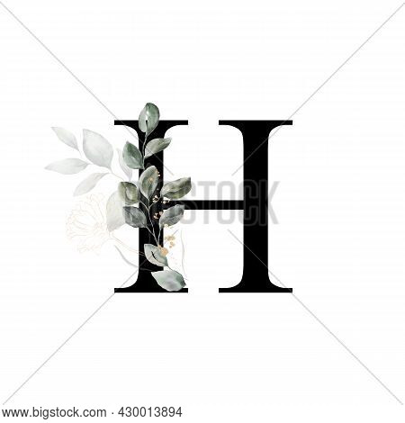 Capital Letter H Decorated With Golden Flower And Leaves. Letter Of The English Alphabet With Floral