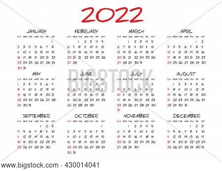 Monthly Calendar Template For 2022 Year, Simple Calendar Design, Planner, Week Starts On Sunday, Wal