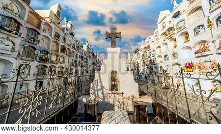 Lima, Peru - August 2017: Traditional Cemetery With Above The Ground Tombs In The A Cemetery In Peru