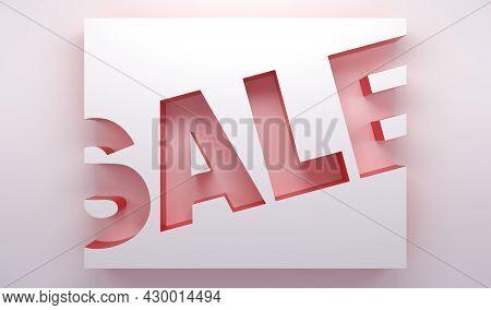 Three Dimensional Sale Banner Background. 3d Illustration