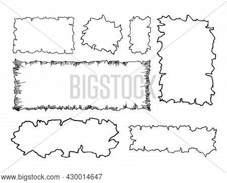 Set Of Old Paper Background Grunge Vintage. Scraps Of Paper With An Uneven Edge. Vector