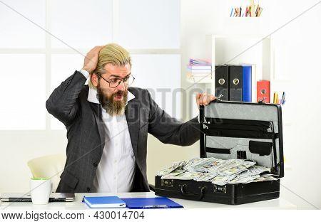 Financial Director. Corporate Finance. Economics Concept. Cash Turnover. Businessman With Cash. Tax