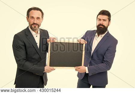 Educational Project. Businessmen Hold School Blackboard. Corporate Business Education. Study Busines
