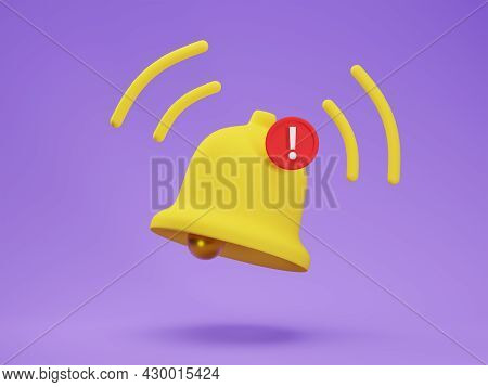 3d Render Icon Of Matte Yellow Notification Bell With One New Message Isolated On Purple Background.