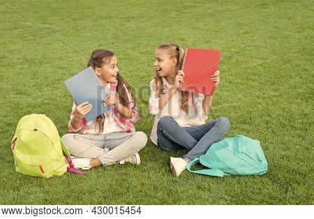 Schoolgirls Little Children School Yard With Books, Informal Education Concept