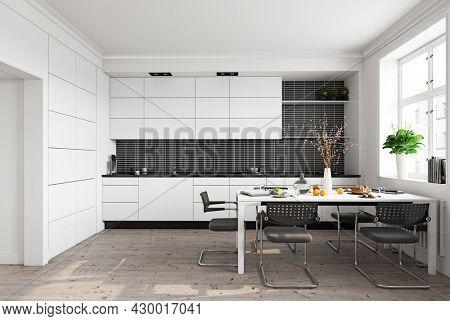 modern white  kitchen interior. 3d rendering design concept