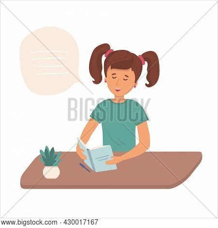 Little Girl Is Holding Open Books And Reading. Vector Concept Illustration.the Child Does His Homewo