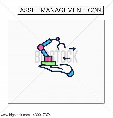 Fixed Asset Management Color Icon. Industrialization.tracking Fixed Assets For Purposes Of Financial