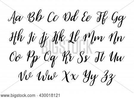 Alphabet Font. Handwritten Alphabet For Text. Calligraphy Script For Typography. Hand Drawn Cursive