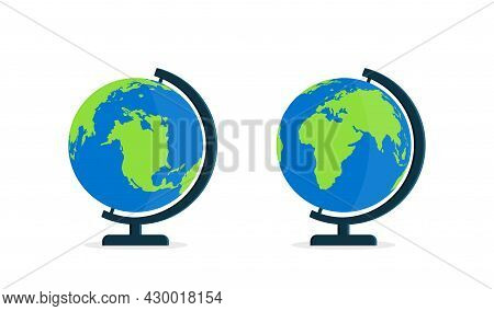 Globe With Stand. World On Globus For Classroom And School. Icon Of Map On Desk. Model Of Earth With