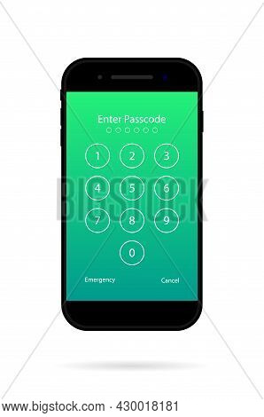 Password For Unlock In Phone Screen. Numeric Passcode In Smartphone. Number Of Pin Code For Security