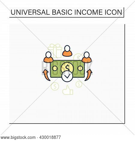 Universal Payment Color Icon. Lump Sum People Payment. Cash For Everyone. Basic Income Concept. Isol